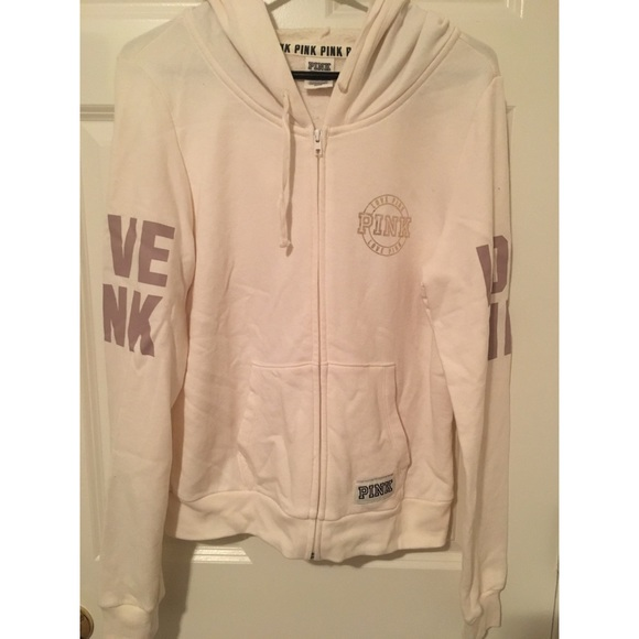 PINK Victoria's Secret Tops - PINK Victoria's Secret Cream Hoodie
